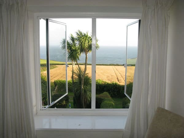 Sea view from window of bedroom in Foss Cottage east prawle