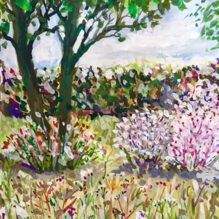 A visitor's painting of the holly tree in the garden of Foss cottage, our luxury self-catering holiday cottage