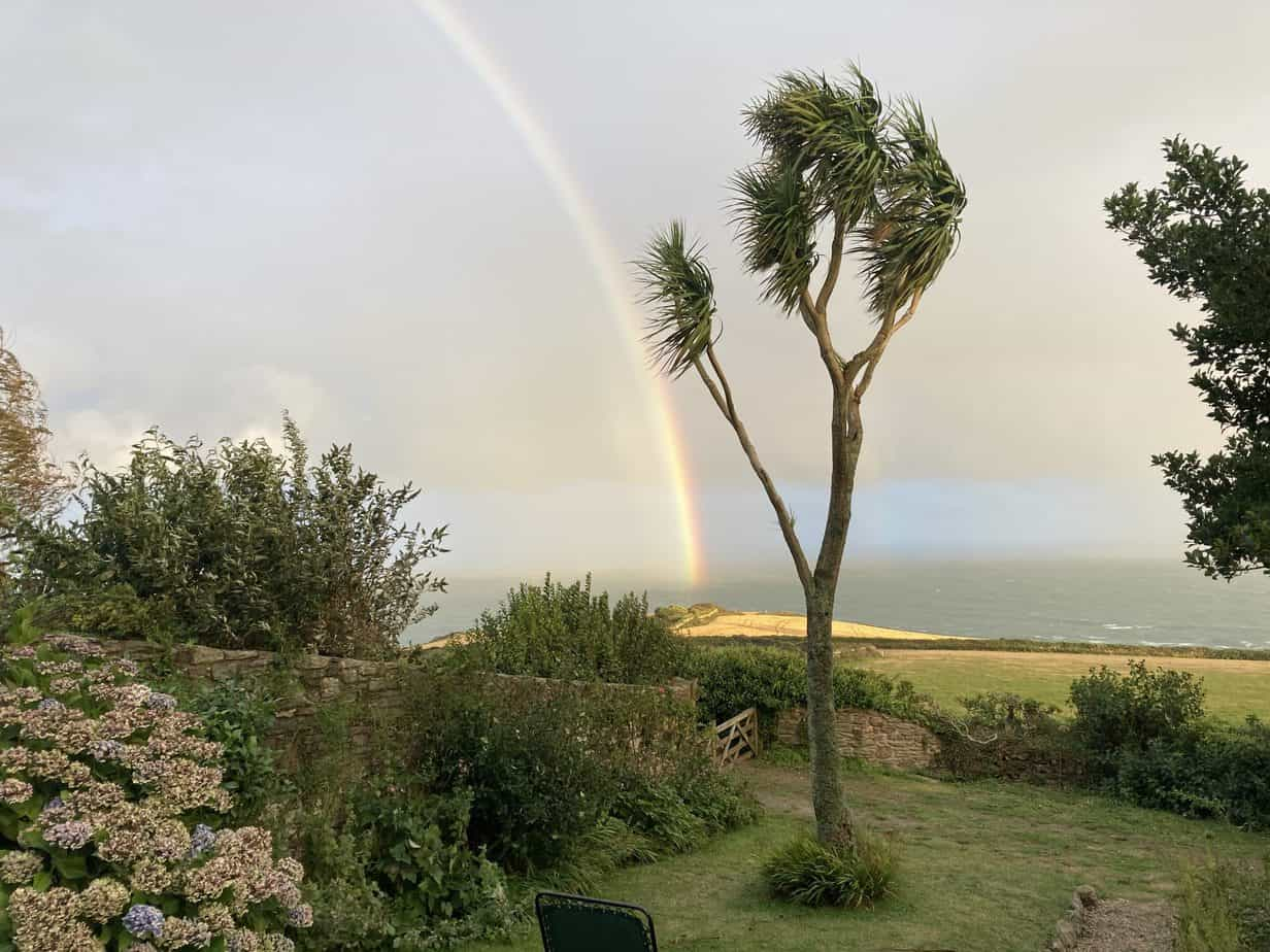 Rainbow seen from the garden of Foss Cottage, East Prawle